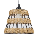 1/3 Light Tapered Drum Hanging Pendant Lamp Asian Style Straw Rope Drop Light for Cafe