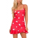 Womens Stylish Cherry Printed Spaghetti Straps Ruffled Hem Red Mini Slip Dress