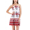 Women's Ethnic Floral Printed Spaghetti Straps Mini A-Line Slip Dress