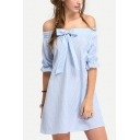 New Trendy Striped Print Off The Shoulder Half Sleeve Bow Tie Front Mini A-Line Dress