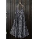 New Stylish Polka Dot Printed Spaghetti Straps Chiffon Black Midi Slip Dress