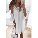 Womens Fashion Cold Shoulder Plain Lace Trim Sexy Mini Slip Dress
