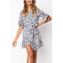 Cool Leopard Print Flare Sleeve Ruffle Hem Tied Waist Mini A-Line Dress