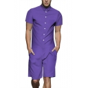 Mens Simple Solid Color Cool Short Sleeve Button-Down Suit One Piece Slim Fit Rompers