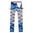 Mens Nightclub Fashion Printed Stretch Fitted Casual Blue Jeans