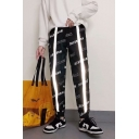 Mens Hip Hop Style Fashion Allover Letter Print Reflecting Tape Patched Casual Track Pants