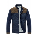 Cool Diamond Lattice Long Sleeve Stand Collar Colorblock Press-Stud Closure Corduroy Jacket for Men