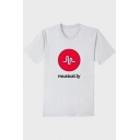 Letter MUSICAL LY Logo Printed Round Neck Short Sleeve Graphic T-Shirt