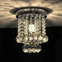Modern Drum Ceiling Flush Mount 1 Light Clear Crystal Chandelier in Chrome