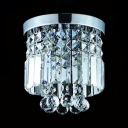 Modern Drum Flush Ceiling 1 Light Clear Crystal Chandelier in Chrome