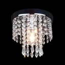 Dining Room Chandelier Clear Crystal Contemporary Nickel Flush Ceiling