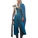 Game of Thrones Daenerys Targaryen Cosplay Costume V-Neck Split Hem Blue Midi A-Line Dress with Cape