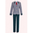 Cosplay Costume Stripes Printed Notched Lapel Collar Single Breasted Coat Straight Pants Gray Co-ords