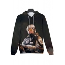 Cool Game Figure Printed Loose Relaxed Pullover Hoodie