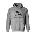 Mens Popular Game Of Thrones Dragon Letter Printed Long Sleeve Loose Fit Pullover Hoodie