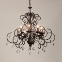 Classic Candle Chandelier Metal Height Adjustable Pendant Lighting with Clear Crystal and 12