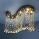 Modern Chandelier Clear Crystal 6 Lights Chrome Flush Mount Light for Bedroom