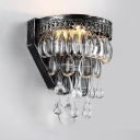 Antique Style Sconce Light Clear Crystal Single Light Wall Mounted Lighting for Bar, L:6in W:4in H:8in