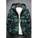 Unique Cool Camouflage Printed Long Sleeve Hooded Zip Up Track Jacket for Men