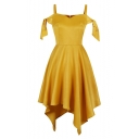 Women's Fashion V-Neck Plain Sleeveless Gold Mini Asymmetrical Dress