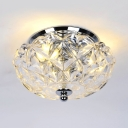 Flared Bedroom Ceiling Light Clear Crystal 2/3-Light Contemporary Flushmount Lighting