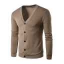 Trendy Solid Color Mens Basic V-Neck Button Front Fitted Cardigan