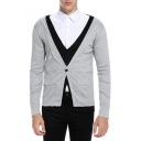 Men's New Stylish Patchwork Fake Two-Piece Fitted V-Neck Button Down Cardigan