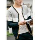 Spring Autumn Fashion Stripe Colorblock V-Neck Button Closure Casual Fitted Thin Cardigan for Men