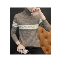 Mens Simple Geometric Print Long Sleeve Turtleneck Fitted Warm Knit Sweater