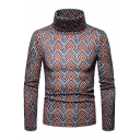 Fashion Colorful Rhombus Printed Long Sleeve Warm High Neck Basic Slim Sweater Jumper for Men