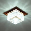 Living Room Square Flush Light Clear Crystal Modern White Flush Ceiling Lighting