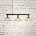 Industrial Conical Island Lighting 3 Lights Glass Island Lamps in Brass for Kitchen