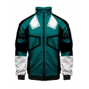 Cosplay Costume Stand-Collar Long Sleeve Zip Closure Green Coat Jacket