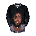 Cool American Rapper 3D Figure Printed Long Sleeve Casual Sport Button-Down Baseball Jacket