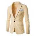 New Stylish Notched Lapel Single Button Long Sleeve Mens Linen Suit Blazer
