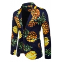 Trendy Pineapple Printed Single Button Long Sleeves Peaked Lapel Blazer for Men