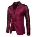 New Trendy Printed Stand Collar Single Button Long Sleeve Slim Fit Men's Blazer Suit