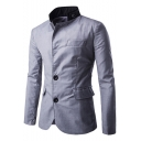 Men's Contrast Stand Collar Long Sleeve Button Front Patched Slim Fitted Blazer Suit