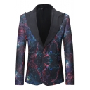 Fashion Galaxy Printed Peaked Lapel Single Button Long Sleeve Mens Tuxedo Blazer
