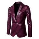 Mens Trendy Printed Notched Lapel Single Button Long Sleeve Flap-Pockets Split Back Suit Blazer