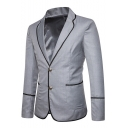 Mens Contrast Edge Double Button Lapel Collar Long Sleeve Casual Blazer Jacket