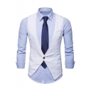 Men's Plain Single Button V-Neck Belt Back Casual Business Waistcoat