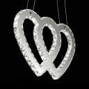 Metal Pendant Lamp with Heart/S/Twist Shape and Clear Crystal Modern Chandelier Light in Chrome