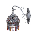 Vintage Domed Shape Wall Light Single Light Metal Hanging Wall Sconce in Silver/Bronze