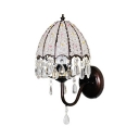 Traditional Black Wall Light with Umbrella Shape Single Light Metal Sconce Light with Clear Crystal