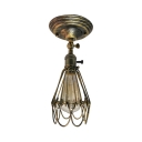 Gold/Rust/Silver Metal Cage Semi Flush Light Vintage Mini Ceiling Light for Hallway