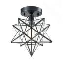 Modern Star Semi Flush Mount 1 Light Clear Glass Ceiling Light for Bedroom
