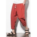 Retro Chinese Style Plain Cotton and Linen Drawstring-Waist Loose Fit Cropped Tapered Trousers Pants for Men