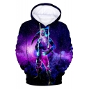 Popular Game Galaxy Comic Character Printed Long Sleeve Unisex Loose Drawstring Purple Hoodie