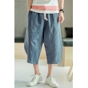 Retro Chinese Style Linen Simple Plain Drawstring Waist Cropped Wide-Leg Harem Pants for Men